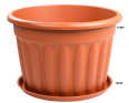 A Round Planter in Terracotta with a Base to Catch any Spills