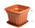 A Square Planter in Terracotta with a Base to Catch any Spills