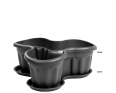 A Large Planter for Three Plants in Graphite with a Base to Catch any Spills