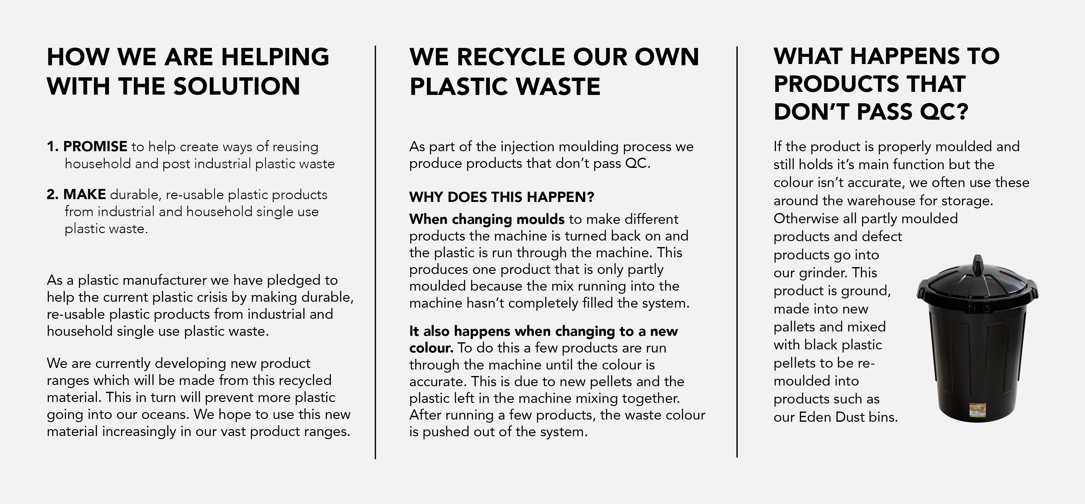 WHAM Recycled Plastic Statement