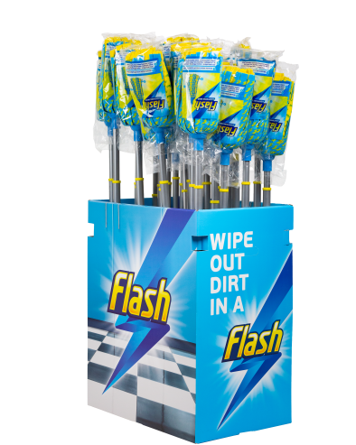 A Display Unit Filled with Flash Lightning Mops